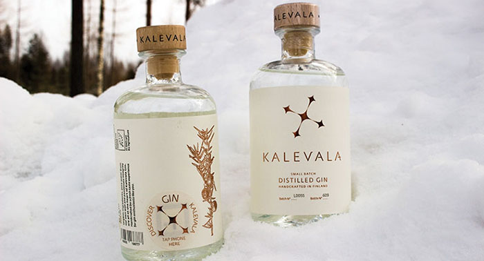 Kalevala Gin uses an NFC-enabled tag in their custom bottle packages.