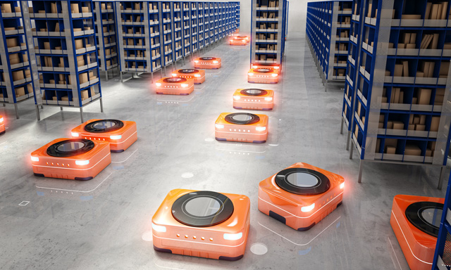 Self-directed ground robots that move your custom packaging in the warehouse.