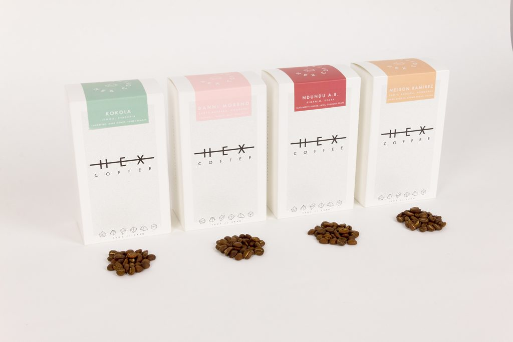 Head-on view of custom coffee packaging from Hex Coffee.