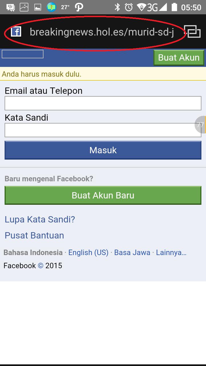 Halaman Login PALSU Facebook