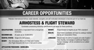 PIA Karachi Air Hostess, Flight Steward Jobs 2018 April Advertisement Application Form