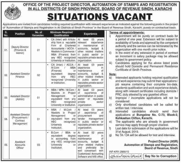 Board of Revenue Sindh Jobs 2019 Automation of Stamp and Registration
