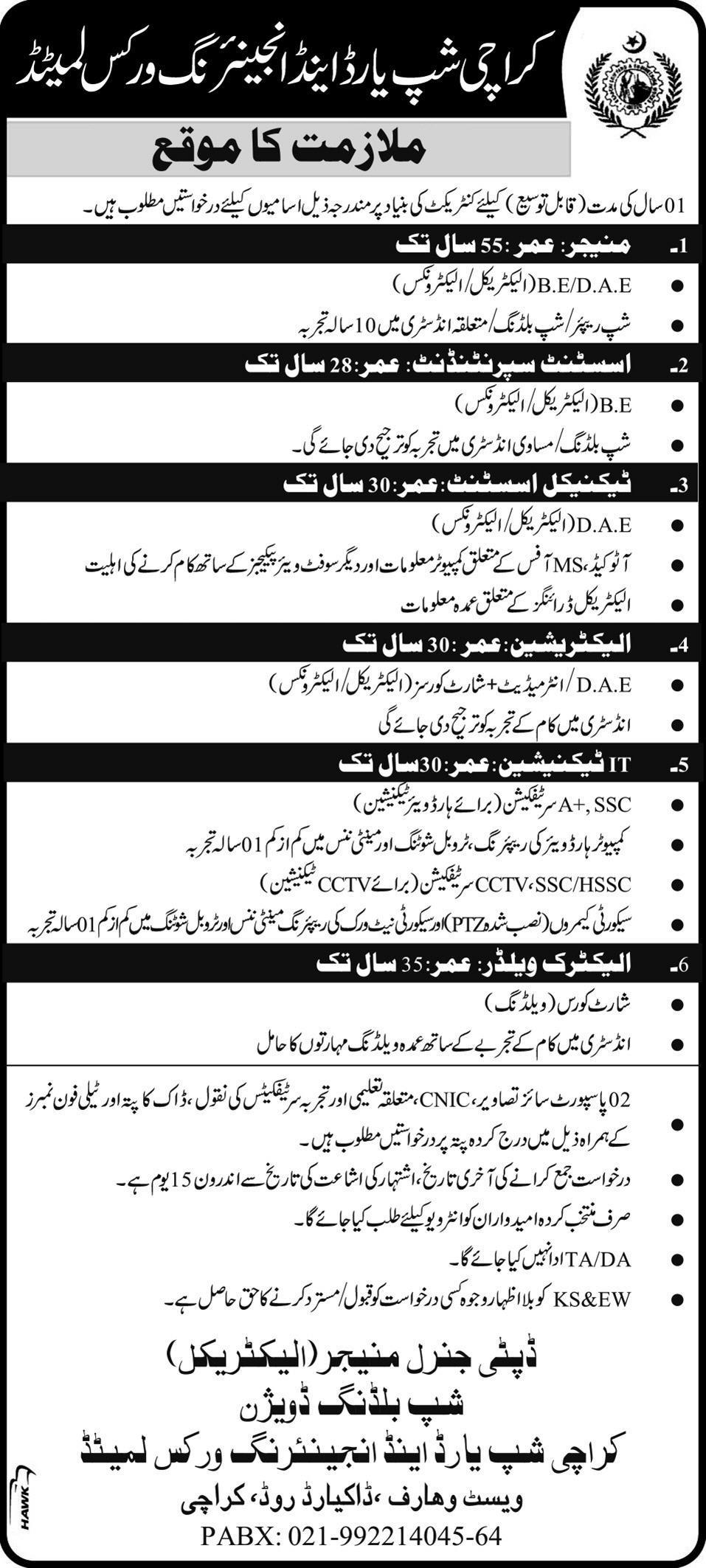 Karachi Shipyard and Engineering Works Jobs Application