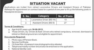 Pakistan Railways Rawalpindi Jobs 2019 Application Form Download Advertisement
