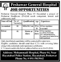 Northwest General Hospital Peshawar Hayatabad Jobs 2016