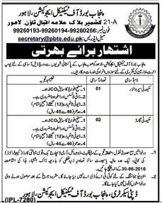 Punjab Board Of Technical Education Lahore Jobs 2016 June