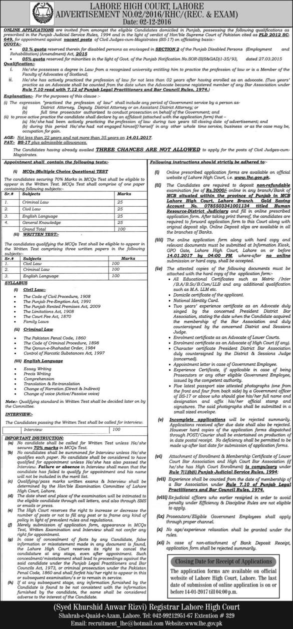 Lahore High Court Jobs 2018 Advertisement Application Form