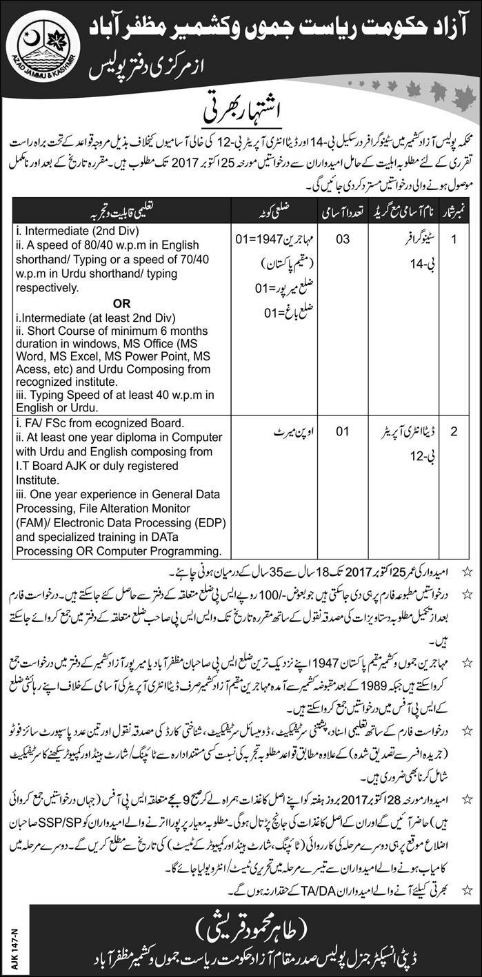 AJK Police Department Jobs 2017 Test Date October