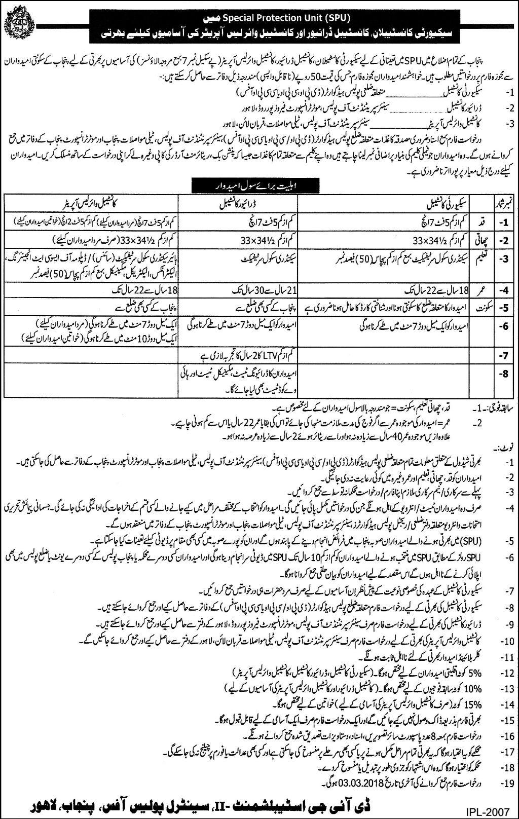 SPU Punjab Police Constable Jobs 2018 Application Form Fee