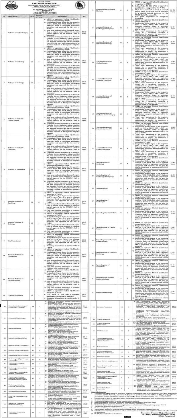 Rawalpindi Institute of Cardiology Rawalpindi Jobs 2019 Application Form
