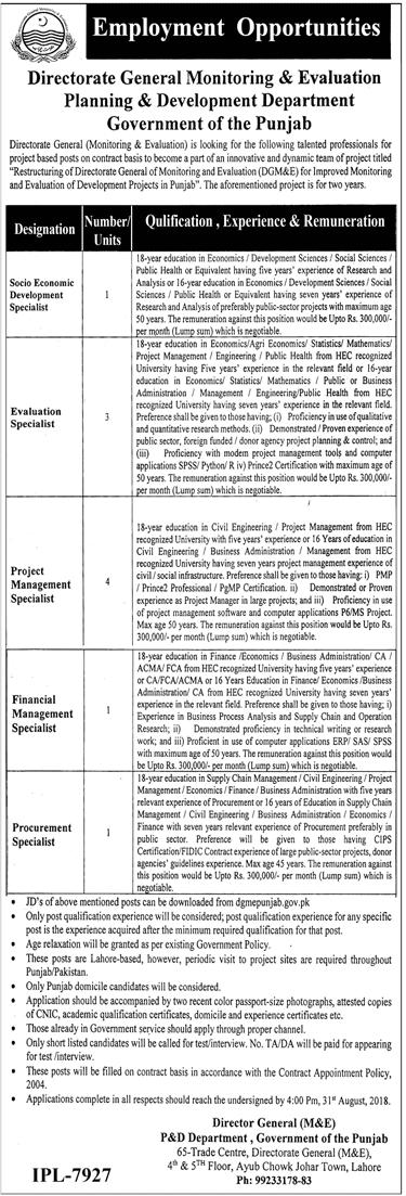 Planning And Development Department Punjab Jobs 2018 Application Form