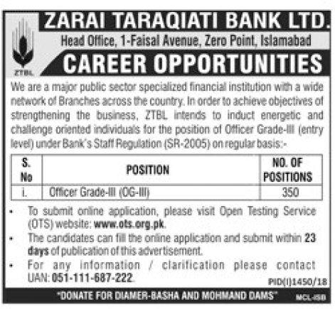 ZTBL OG 3 Jobs 2018 OTS Application Form Zarai Taraqiati Bank