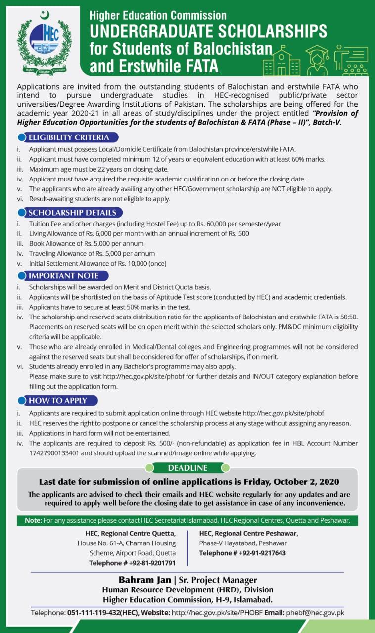 HEC Undergraduate Scholarship 2020 for FATA, Balochistan ...
