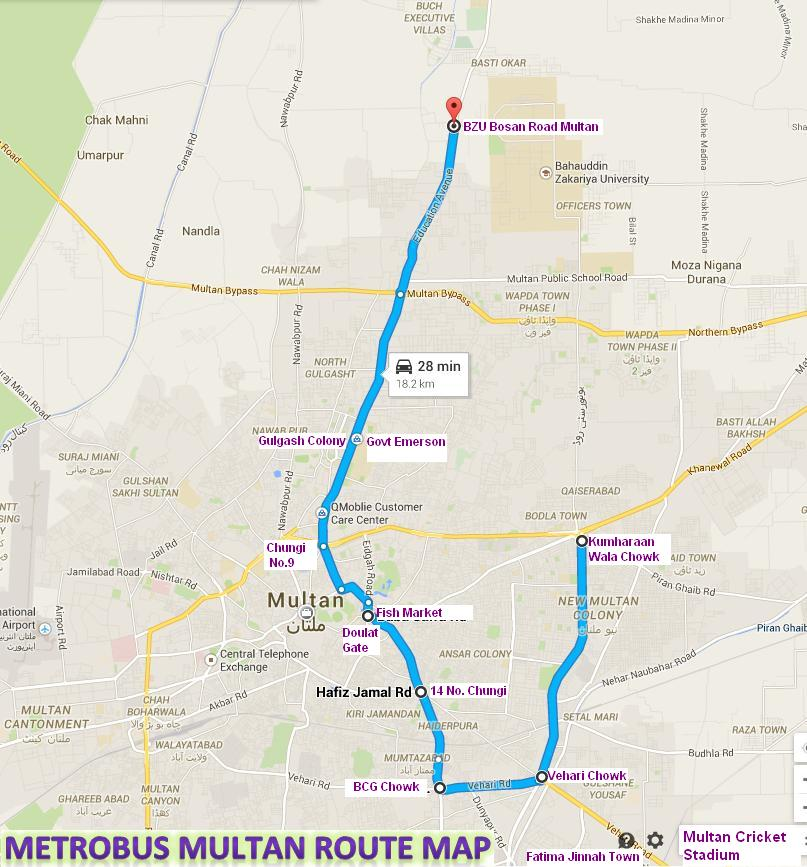 Metro Bus Multan Complete and Final Route Map