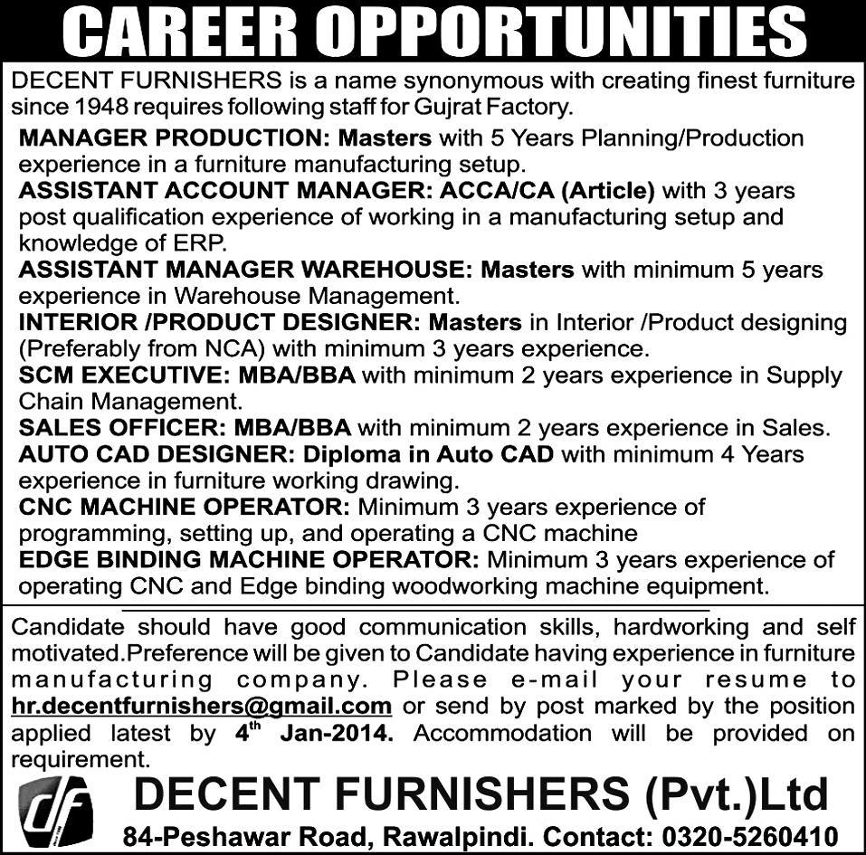 Manager Production, Asst Mgr Warehouses, Sales Officer, Cnc Machine Opt,  Edge Binding Machine Opt. 2018 Decent Furnishers (Pvt.) Ltd Jobs In  Rawalpindi