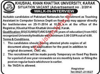 Teaching Assistant Required 2019 Khushal Khan Khattak