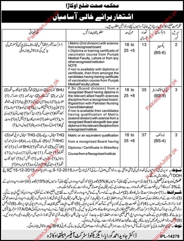Health Department Wanted Applicants For District Okara