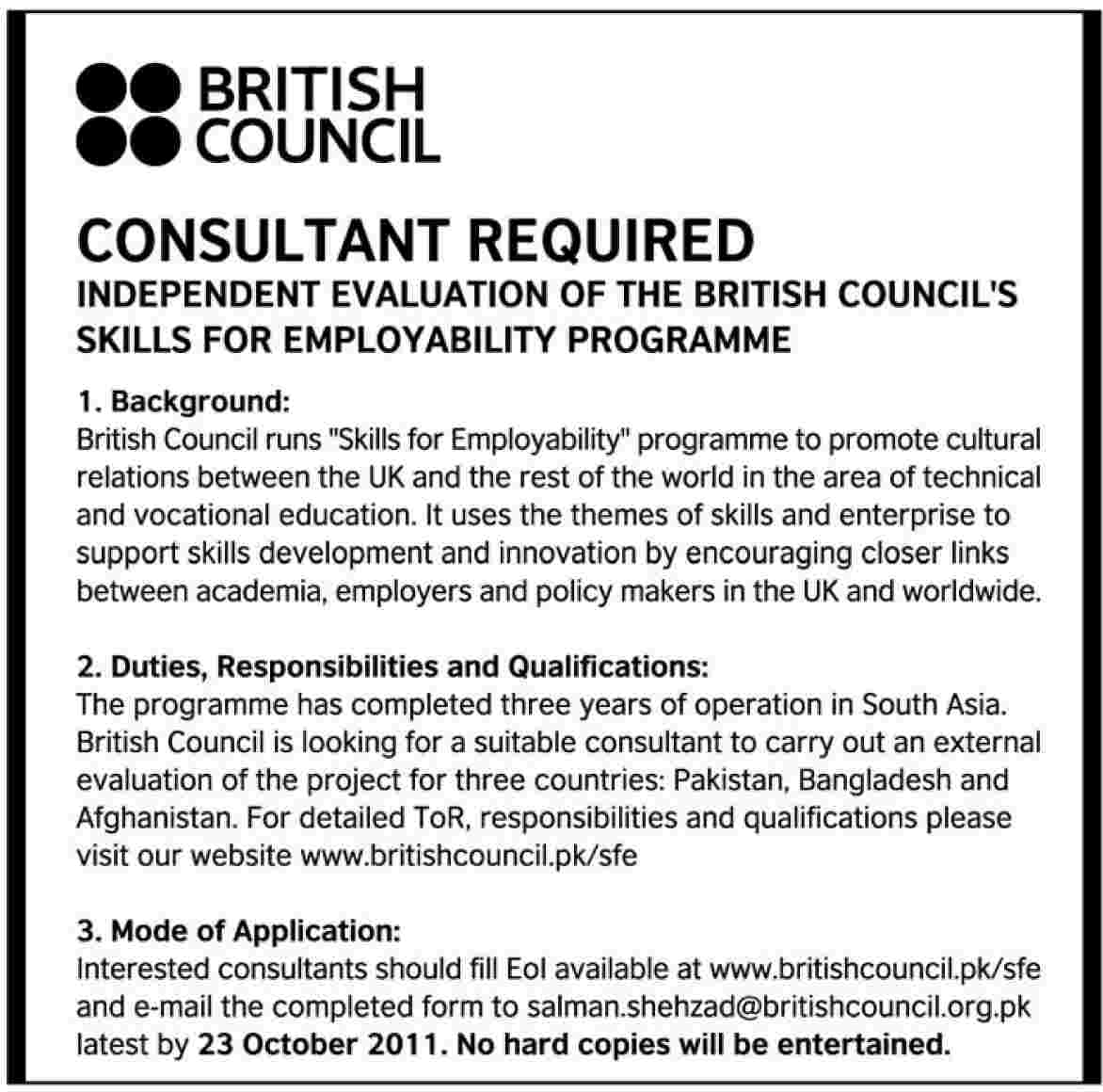 British Council Required The Services Of A Consultant In