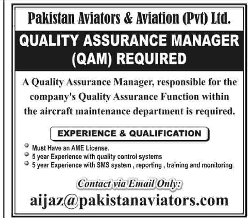 Quality Assurance Manager Required by Pakistan Aviators  Aviation PVT Ltd in Pakistan Dawn
