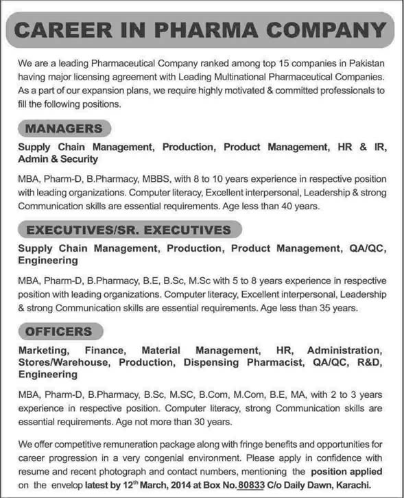 Latest pharmacy jobs in karachi