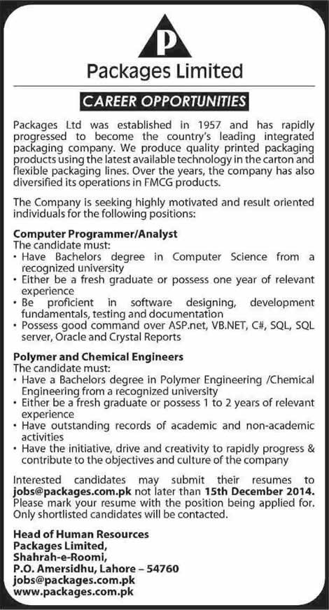 Package Limited Lahore Jobs 2014 December Computer Programmer  Chemical Engineer in Lahore