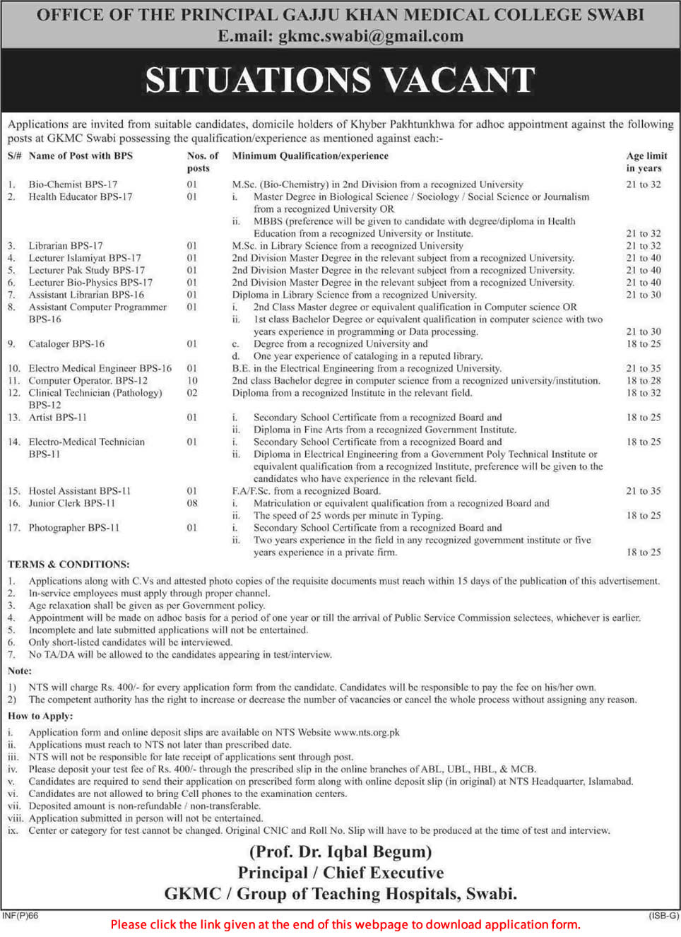 Gaju Khan Medical College Jobs 2015 NTS Application Form
