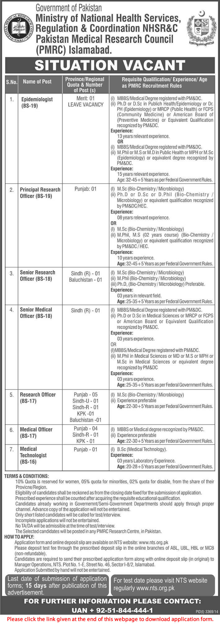 Pakistan Medical Research Council (PMRC) Islamabad Jobs