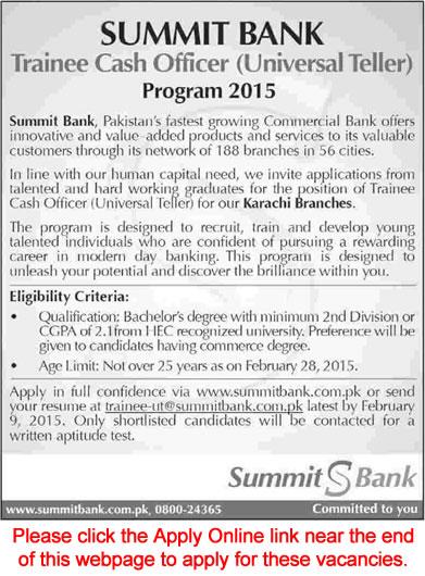 Summit Bank Karachi Jobs 2015 Trainee Cash Officer