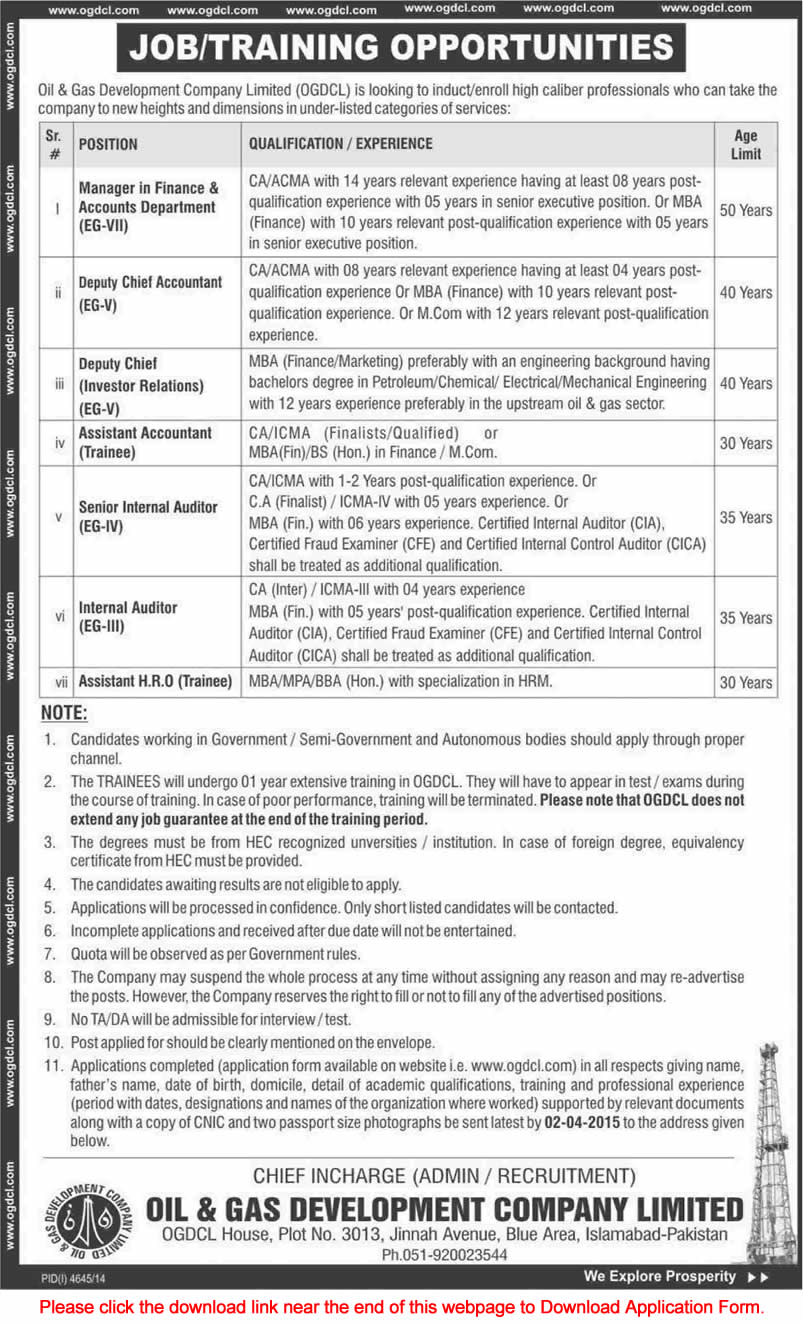OGDCL Jobs March 2015 Accounts  HR Trainees Chartered Accountants  Internal Auditors