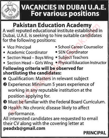Pakistan Education Academy Dubai Jobs 2015 May Teaching