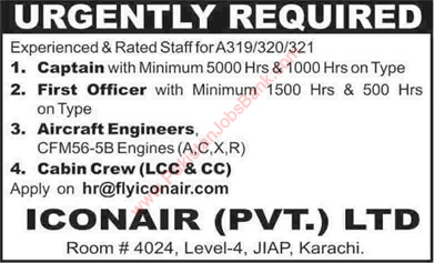 Iconair Pakistan Jobs 2015 May for Cabin Crew, Aircraft