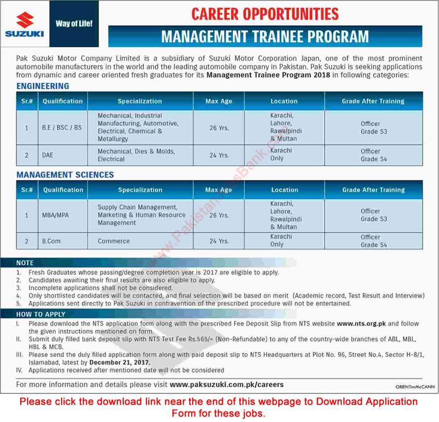 Pak Suzuki Management Trainee Program 2018 Motor Company