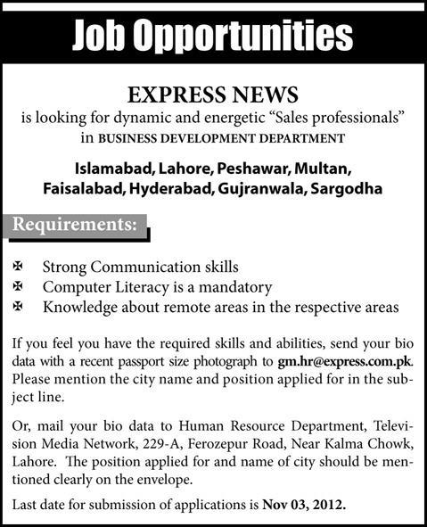Sales Professionals Required By Express News Jobs In