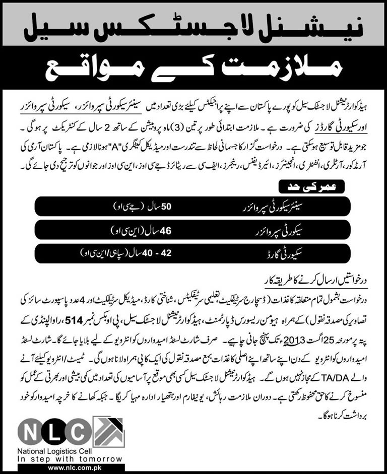 NLC Jobs August 2013 Security Supervisors & Security