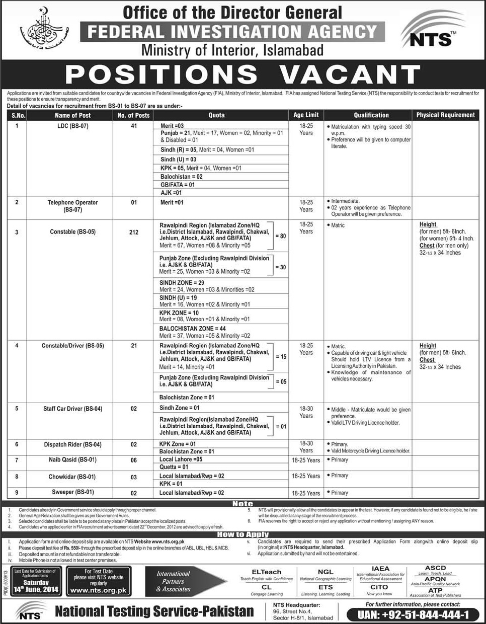 Federal Investigation Agency Jobs 2014 June Islamabad