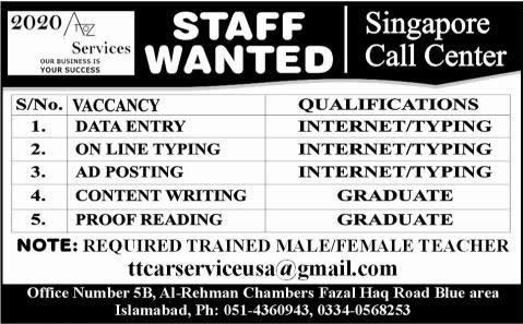 Singapore Call Center Islamabad Jobs 2014 August for