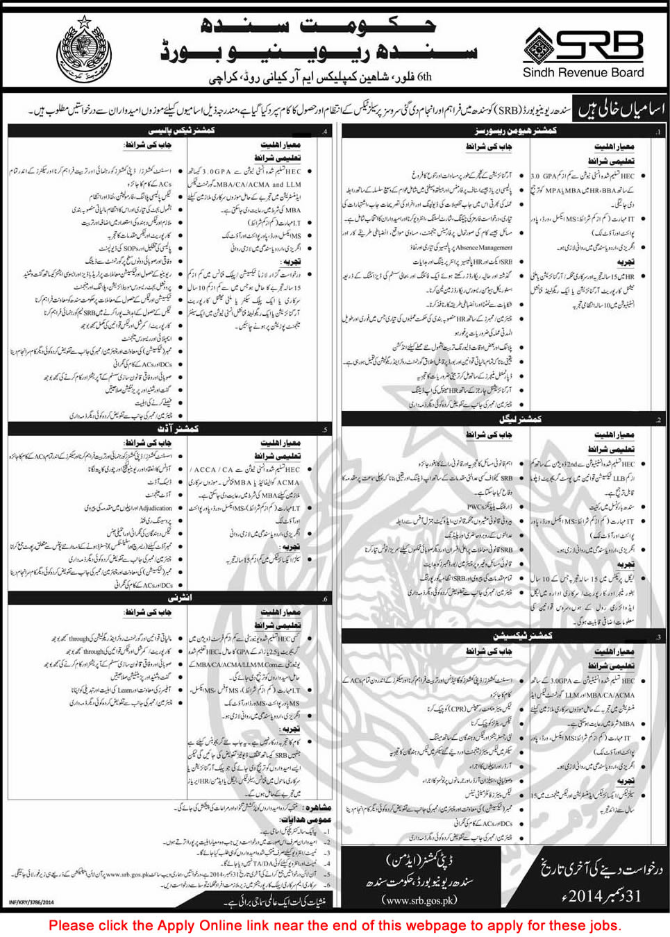 Sindh Revenue Board Jobs 2014 December Apply Online