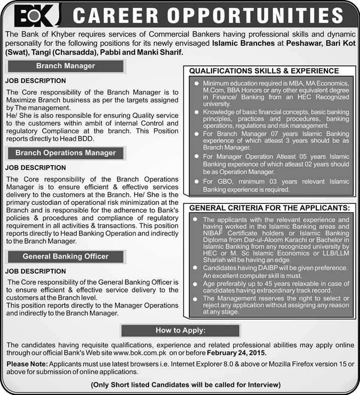 Bank of Khyber Jobs 2015 February Online Apply Branch Managers  Banking Officers Islamic
