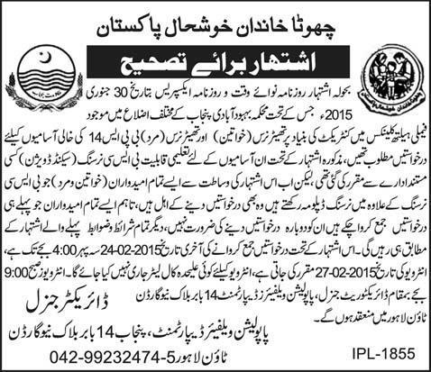 Population Welfare Department Punjab Theater Nurse Jobs