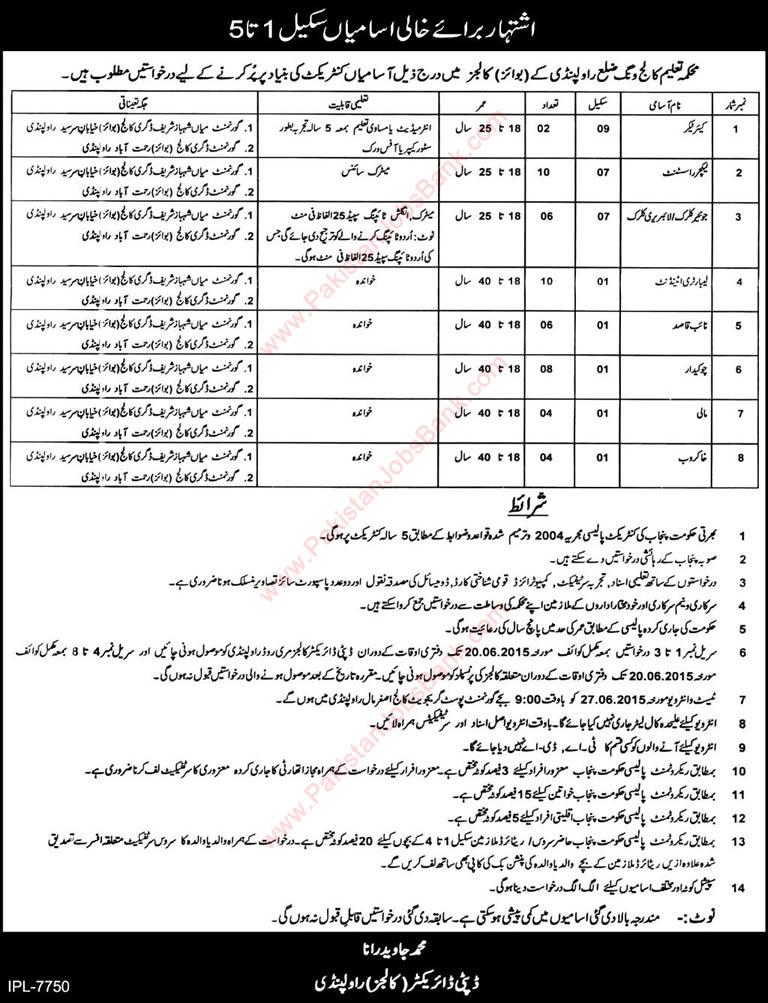 Education Department Rawalpindi Jobs 2015 June College
