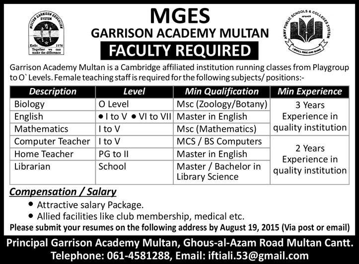 Garrison Academy Multan Jobs 2015 August MGES Teaching
