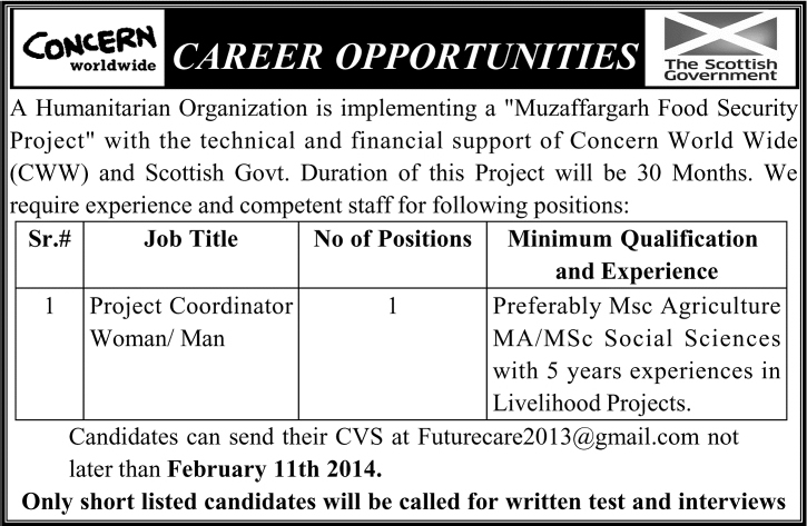 Concern Worldwide Jobs 2014 February for Project