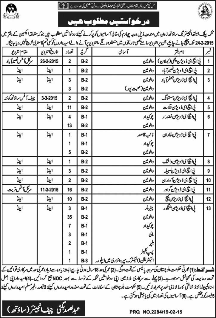 Public Health Engineering Department Balochistan Jobs 2015