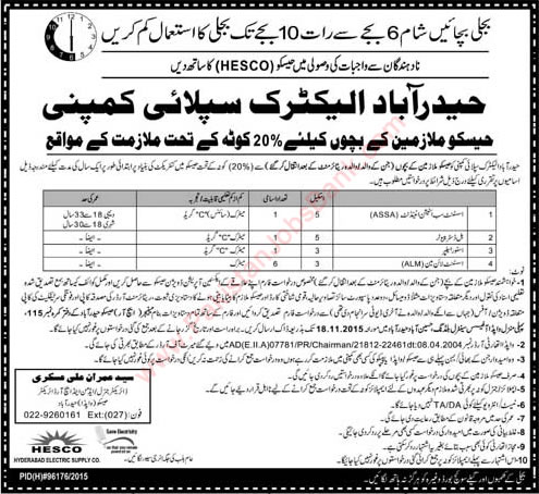 HESCO Jobs 2015 November WAPDA Employees Children Quota