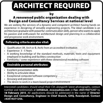 Architect Jobs in Rawalpindi 2015 Public Organization in Design  Consultancy Services in