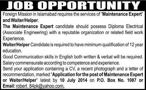 Maintenance Expert & Waiter Jobs In Islamabad 2014 July At
