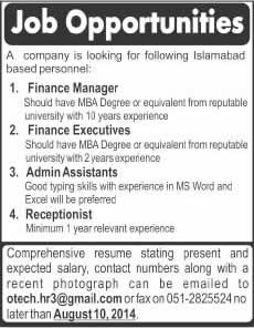 Finance Manager / Executives, Assistants & Receptionist