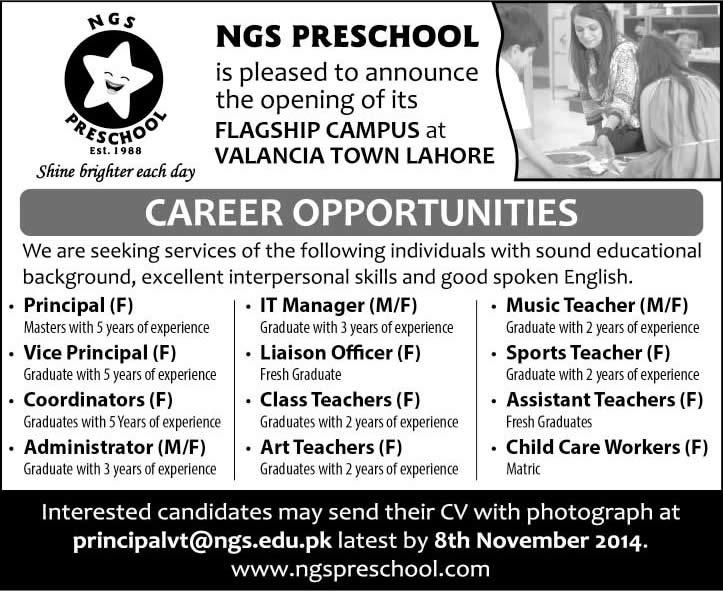 School Jobs in Lahore October / November 2014 Teachers