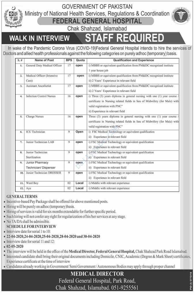 Federal General Hospital Islamabad Jobs 2020