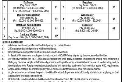 NDU Jobs 2020 National Defence University Islamabad Application Form Advertisement